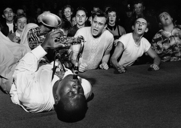 Big Jay McNeely driving the crowd at the Olympic Auditorium into a frenzy, 1951.