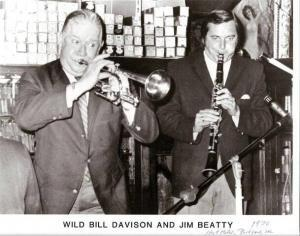 Wild Bill Davison Jim Beatty 1970 300x236 - Jim Beatty, Jazz Clarinetist and Author has died at 84.