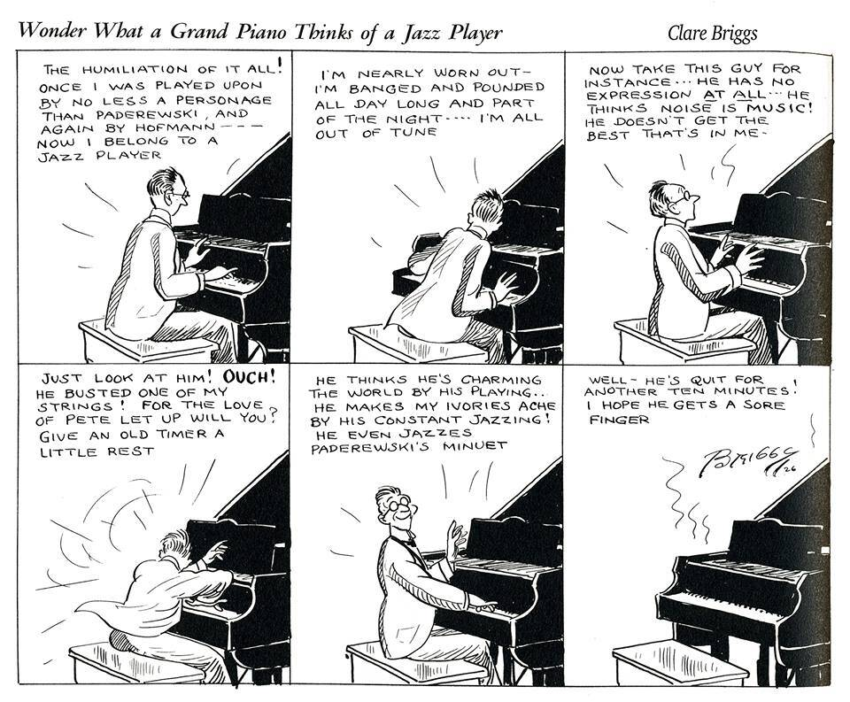 Wonder What a Grand Piano Thinks of a Jazz Player? by Clare Briggs (1926)