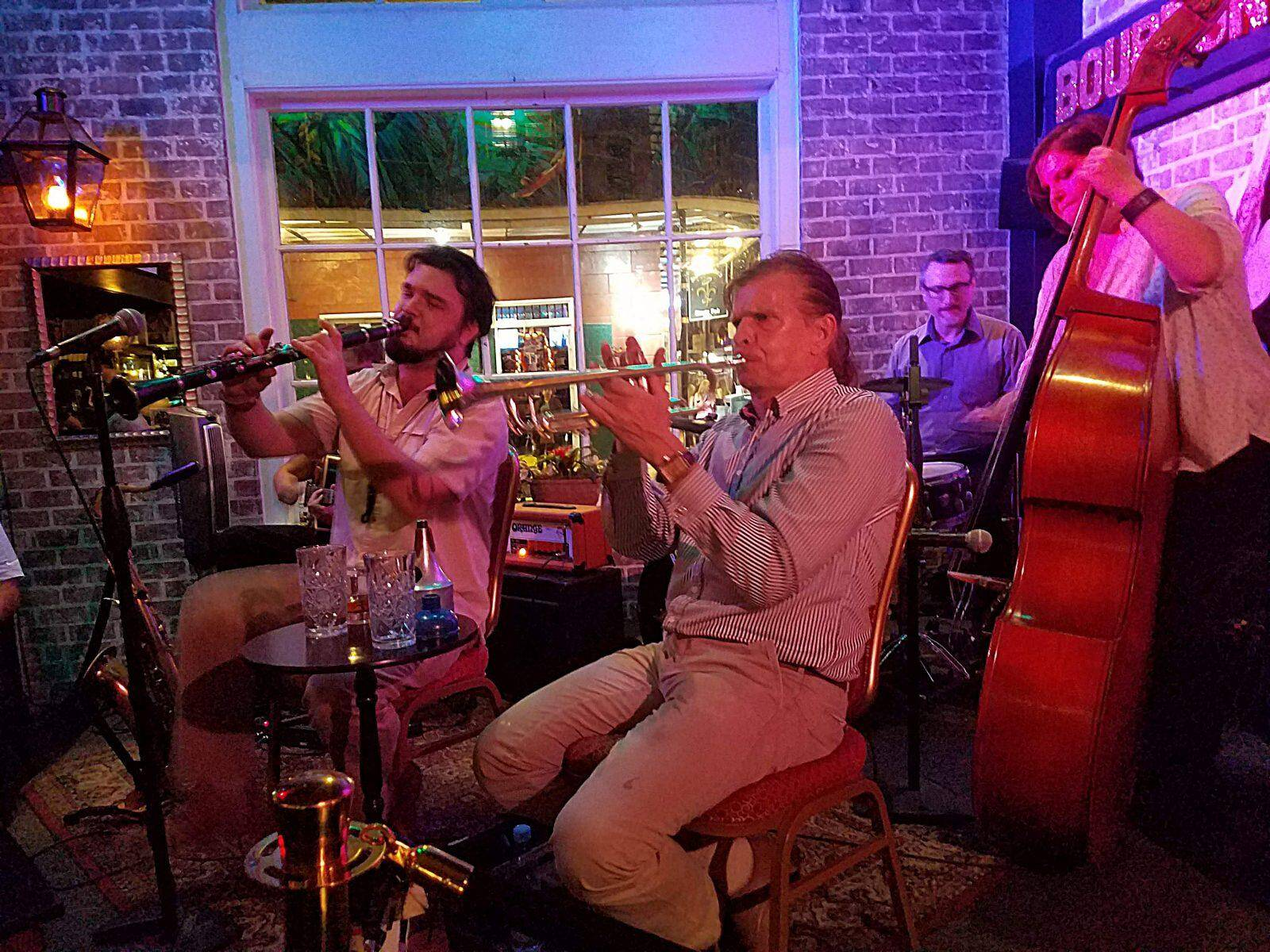 At the Bourbon O: Marty Peters, clarinet; Norbert Susemihl, trumpet; Barnaby Gold, drums; and Tasha Powers, bass. (photo by Ken Arnold)