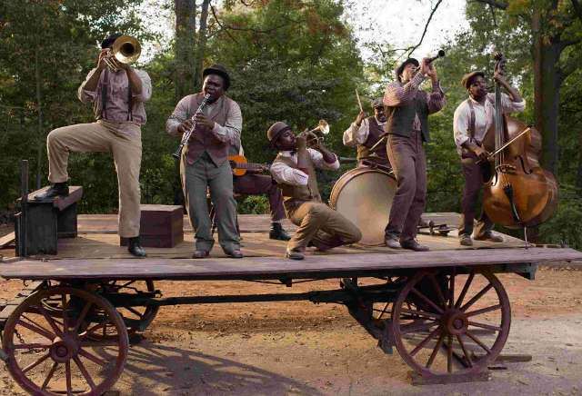 Buddy Bolden Band performs on a trailer