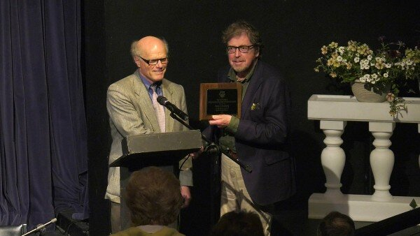 David Reffkin presenting the 2019 Lifetime Achievement Award to Peter Lundberg. (Scott Joplin International Ragtime Festival Photo)