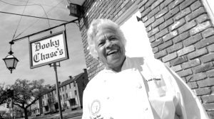 Leah Chase outside Dooky Chase's
