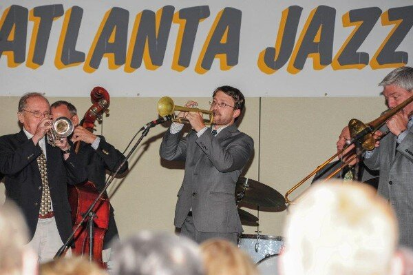 Cornetists Ed Polcer and his Son Ben Polcer perform at the Atlanta Jazz Party
